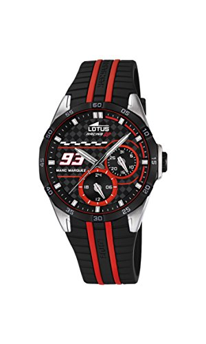 Lotus Marc Marquez Collection 2016 Unisex Quartz Watch with Black Dial Analogue Display and Black Rubber Strap 18260/3