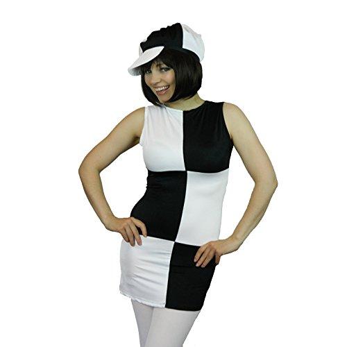(Yummy Bee - 60er 70er Disco Mod Karneval Fasching Kostüm + Strumpfhose + Schwarzer Karierter Hut Damen Größe 34 - 44 (42Weiß))