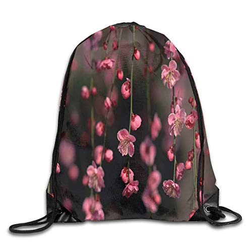 uykjuykj Drawstring Backpack Bag Japanese Cherry Blossom Black Rucksack for Travel Color 08 Lightweight Unique 17x14 IN - Blossom Jersey