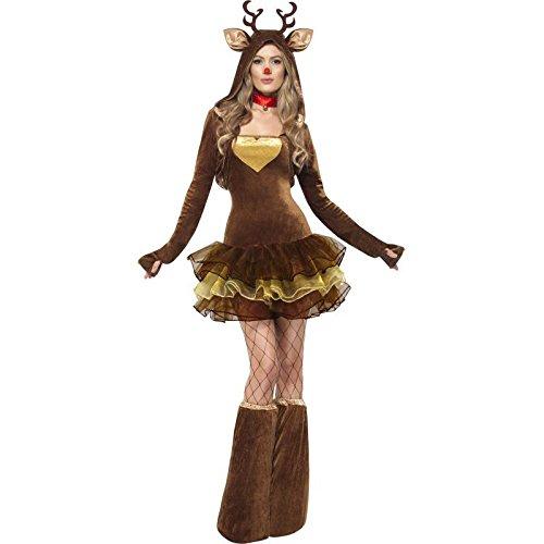 Fever, Damen Rentier Kostüm, Tutu-Kleid mit abnehmbaren Trägern, Jacke und Überstiefel, Größe: M, (Rudolph Kostüm Das Rentier)
