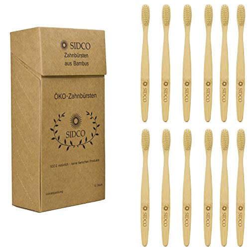 SIDCO Bambus Zahnbürste im 12er Pack