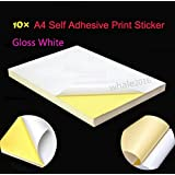 TOTAL HOME:20 A4 Self Adhesive HIGH Glossy Paper Label Sticker Fit for Laser and Inkjet Printers