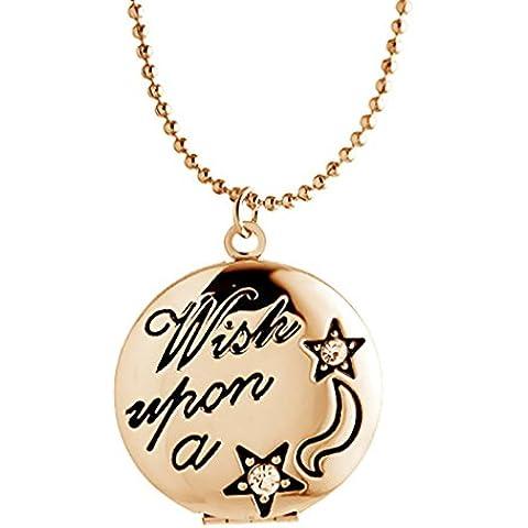 Locket collane del pendente che tiene Immagini Incanti intorno Locket Per gli uomini delle donne - Oro Collana In Rilievo