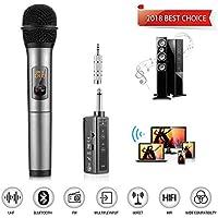Micrófono inalámbrico UHF Bluetooth con 10 canales de frecuencia UHF Karaoke Micrófono micro con receptor Bluetooth KTV de mano profesional compatible con altavoz/teléfono móvil/iPad