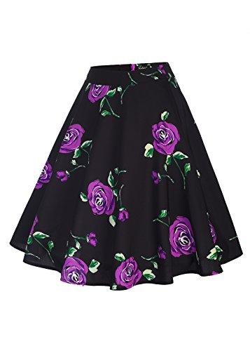 femminile a vita alta floreali / Polka Dots Stampa gonna a pieghe Midi Skater Skirt nero Rose-Viola