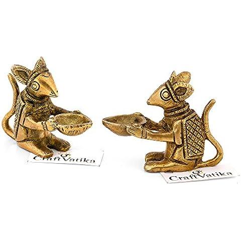 CraftVatika pequeño ratón Diya lámpara de aceite Diya latón Holding ratón Escultura Animal de decoración para el hogar Diwali Regalos