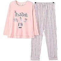DUKUNKUN Conjunto De Pijama De 2 Piezas De Algodón De Manga Larga con Cintura Elástica Pantalones De Rayas Lounge Ropa De Dormir-S