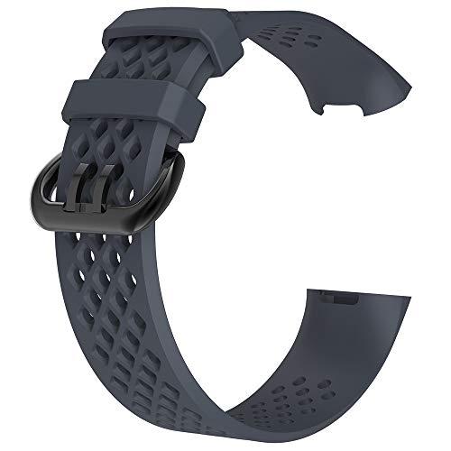 TianranRT Neu Mode Sport Atmungsaktiv Silikon Armband Strap Band Für Fitbit Ladung 3 (Marine,S)