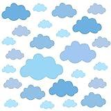 PREMYO Set 25 Adesivi Murali Bambini Nuvole - Wall Stickers Muro Cameretta - Decorazione Parete Camera da Letto Blu
