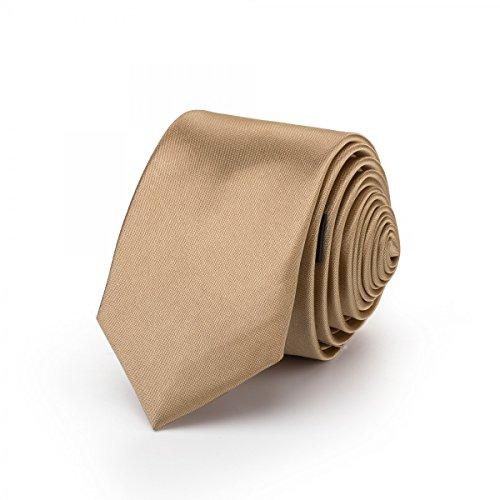 Rusty Bob - Krawatte mit Einstecktuch (in vielen Farben) - für die Verlobung, die Hochzeit - Schlips mit Taschentuch für das Sakko - 2er-Set (Bronze) -
