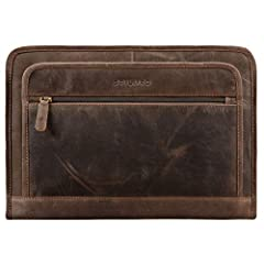 Idea Regalo - STILORD 'Maximilian' Cartella Portadocumenti A4 in pelle vintage Borsa per tablet Custodia rigida per PC e Macbook 13,3 Portablocchi con cerniera Zip, Colore:marrone scuro