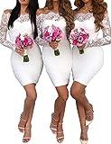 Boutiquefeel Damen Lace Splicing Schulterfreies Bodycon Midi Kleid (S, Weiß)