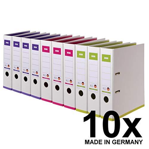 DINOR™ Ordner NiceColor – Das Original – Made in Germany. 10er Pack farbig sortiert 8 cm breit DIN A4 Kunststoffbezug außen und innen in den Farben weiß-pink, weiß-violett, weiß-hellgrün