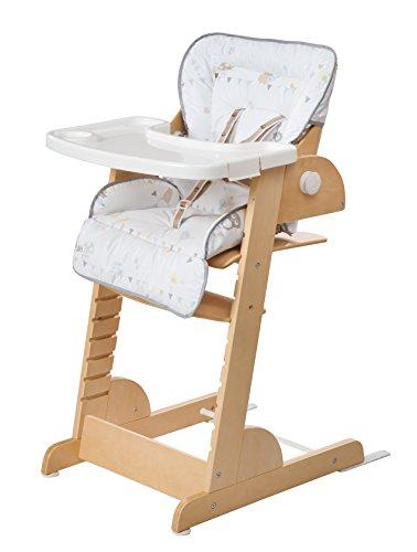 roba Treppenhochstuhl 'Chill Up', Holz Hochstuhl mit Liegefunktion von Geburt an mitwachsender Babyhochstuhl bis zum Jugendstuhl, natur, mit hygienischem Polster 'Wiesenglück'