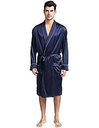 Jasmine Silk Men's Pure Silk Dressing Gown Navy