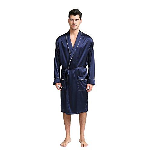 JASMINE SILK Qualitäts Seide Herren Satin Hausjacke Nachtwäsche Bademäntel Nachthemd Morgenmantel Kimono Schlafanzug Schlafenkleid (Marine)