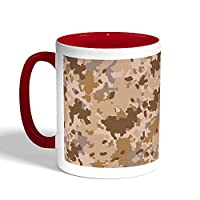 كوب سيراميك للقهوة بتصميم لباس الجيش، لون احمر