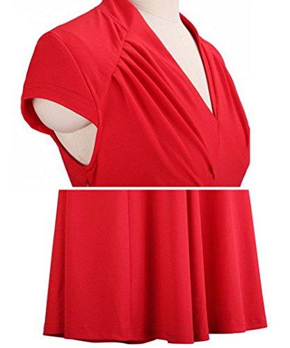 Smile YKK klassisches Design Damen Kurze Aermel Skaterkleid Cocktailkleid Party Kleid M Rot -