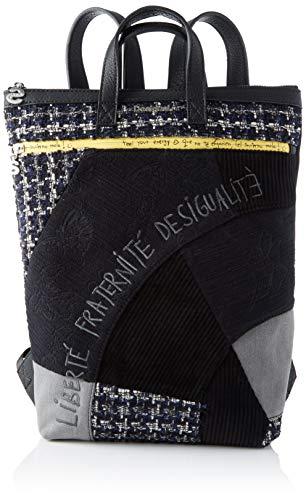 Desigual Damen Backpack Liberté Patch Baza modischer Rucksack, Schwarz (Negro), 37x9x24 cm