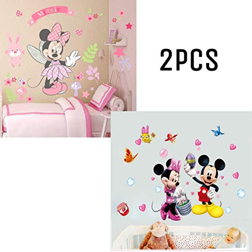 Kibi 2PCS Pegatinas Infantiles Pared Minnie Pegatinas Decorativas Pared mickey Mouse Stickers Pared...