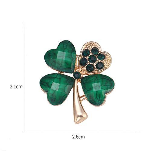 Irish Shamrock Strass (MYHMG Brosche Light Green 4 Leaf Clover Crystal Irish Shamrock Brooch Lapel Collar Pins for Men Or Women)