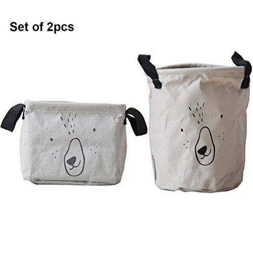 Inwagui Stoff Aufbewahrungsbox aus Baumwolle 2 Stück Aufbewahrungsbox, Aufbewahrungskorb aus Stoff Für Badezimmer Haushalt-Grey Dia-box Organizer