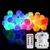 LE Guirlande Lumineuse LED RGB à Piles 5M, 50 Boules 8 Modes avec Télécommande, Guirlandes Boules Étanche pour Soirée, Fête, Mariage, Chambre, Terrasse, Pergola, Balcon, etc.