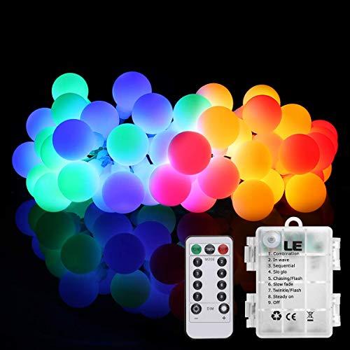 LE 50er LED Kugel Lichterkette 5m batteriebetrieben mit Fernbedienung, Zeitschaltuhr und Merkfunktion, Mehrfarbig, ideal für Weihnachtsdeko, Hochzeit, Party usw.