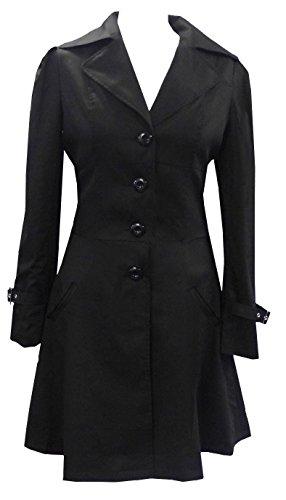 (Cotton Riding Jacket) Klassischer Schwarz Baumwolle Gotische Reiten Mantel. In Gr. 44-46