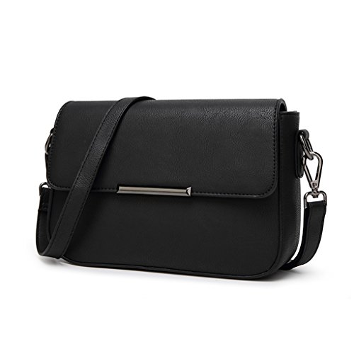 Petit paquet simple carré Gommage Sac bandoulière en cuir Sac à main, gris, Small noir