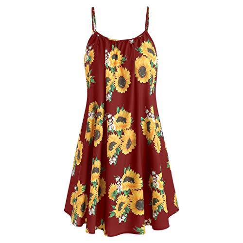 OIKAY Damen Kleid Kurzarm Blumenkleider Mode Bogen Knoten Bandage Top Sunflower Print Mini Dress Suits