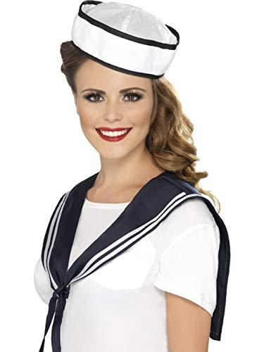 Halloweenia - Kostüm Accessoires Zubehör Damen Matrosen Kragen Seemannstuch Halstuch und Hut, perfekt für Karneval, Fasching und Fastnacht, Weiß