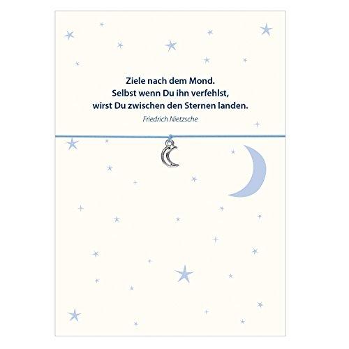 Glücksschmiedin Armband mit Mond Anhänger Versilbert, Elastischem Textilband in hellblau und liebevoller Karte: Ziele nach Dem Mond.…