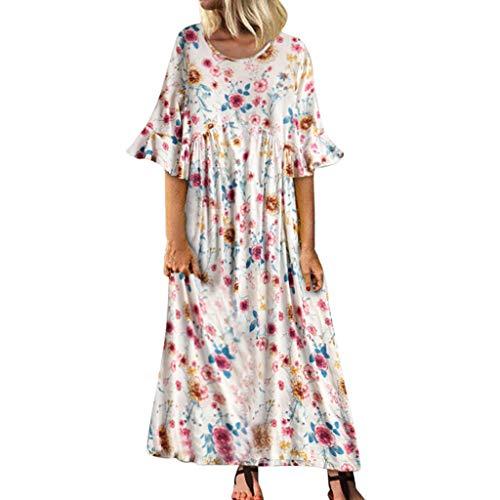 Saihui_Women Dress Damen Casual Lose Sonnkleid O-Ausschnitt A-Linie Strand Sommer Swing Tunika Kleid Vintage Floral Print Flared Short Sleeve Lange Maxi Faltenkleid Übergröße S-3XL -
