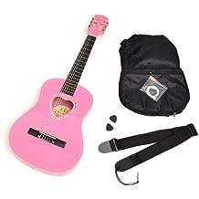 ts-ideen 5260 - Guitarra acústica infantil (tamaño 1/2, pastilla de corazón, incluye: funda, púas, cuerdas y correa), color rosa