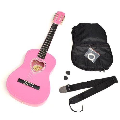 ts-ideen 5260 - Chitarra 1/2 per bambini, con buca a forma di cuore, accessori inclusi: custodia, plettri, corde e tracolla, colore: Rosa