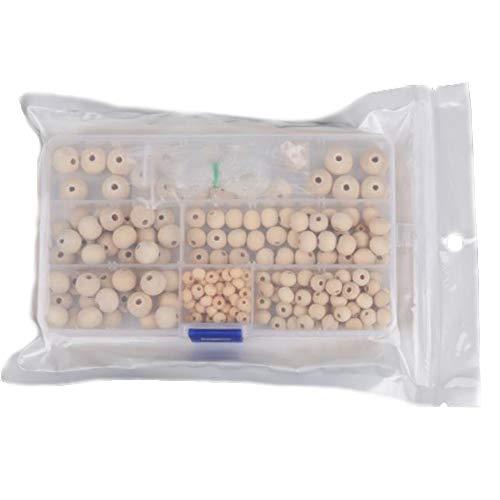 Xinlie Holzperlen runde Set Kleine Runde Natur Holzperlen Natürliche Runde Holzperlen Set Natürliche gemischte Größe Perlen mit Box für DIY Schmuck Herstellung, 5 Größen,6 bis 14mm (220 Stück)