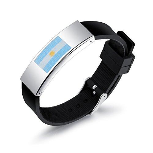 anartikel Armband Silikon Fußball Armband Argentinien Flaggen Armband 2018 WM mit verstellbarer Verschlus für Fußball Fan ()
