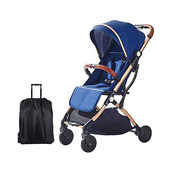 SONARIN Lightweight Stroller,Compact Travel Buggy,One Hand Foldable,Five-Point Harness,Great for Airplane(Dark Blue) SONARIN Size:Suitable from birth up to 15kg, length:66CM, width:48cm, height:98cm.Folding up:60CM*48CM*26CM. Great for Airplane,can be placed in any car boot. Safe:With sturdy aluminum alloy, compact body and five-point seat harness,each stroller has been pressure tested to provide security for each baby. Quality and Design:The backrest of the stroller supports sitting, half lying, lying,all three angles,lengthened and widened sleeping basket. Four wheel independent shock absorbing and built-in bearings make it smoother and quieter. 1