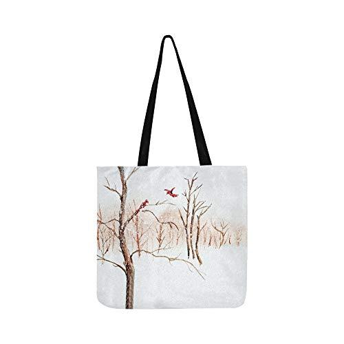 6c1a63f5311c Art Watercolor Painting of Red Birds On Bare Winte Canvas Tote Handbag  Shoulder Bag Crossbody Bags