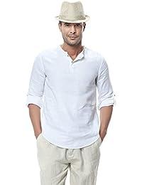 Insun Herren 3/4-Arm Shirts Leinen Hemden Freizeit Tops Pullover