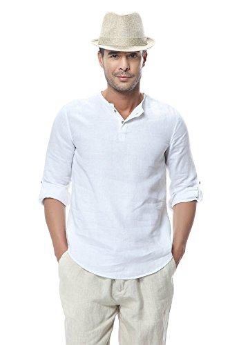 Insun uomo camicia in lino senza colletto henley maglietta casual estiva t-shirt bianco it 52