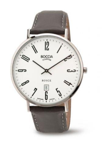 Boccia Herren Analog Quarz Uhr mit Leder Armband 3589-08