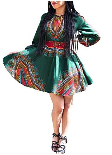 CuteRose Womens Long-Sleeve Dashiki Stand-up Collar African Style Dress Green 2XL - Cherry Set Dresser