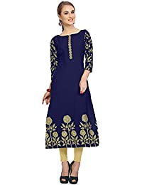 Ziyaa Women's Blue Color Floral Print Straight Crepe Kurta (ZIKUCR1434)
