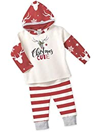 Baby Brief Streifen Print Kleidung Set Christmas Deer Print Langarm Kapuzenshirt Rote und weiße Gestreifte Hose 2 Stück Outfits - Rot & Weiß 70cm