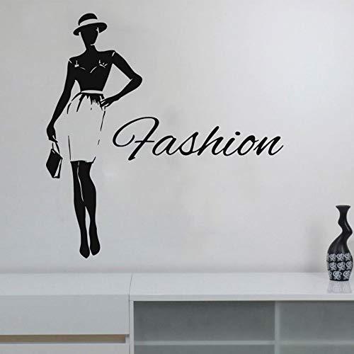 XCGZ Wandsticker Frau Wandtattoo Aufkleber Für Kleid Hut Shop Kleidung Boutique Kleid Modell DIY Wandbilder42 * 43 cm