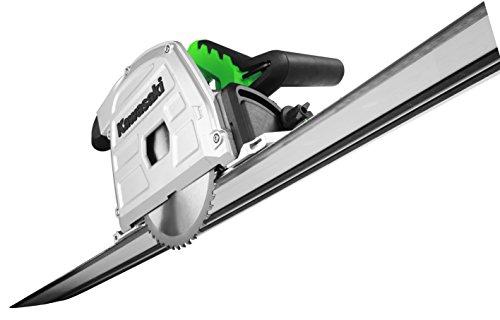 Kawasaki 603010365 Tauchsäge, Handkreissäge 1200 Watt Leistung, inkl. 4 Führungsschienen, Anti-Kickback, Spindelarretierung, Staubsaugeradapter, 5.000 Umdrehungen pro Minute W, 230 V, grü, schwarz