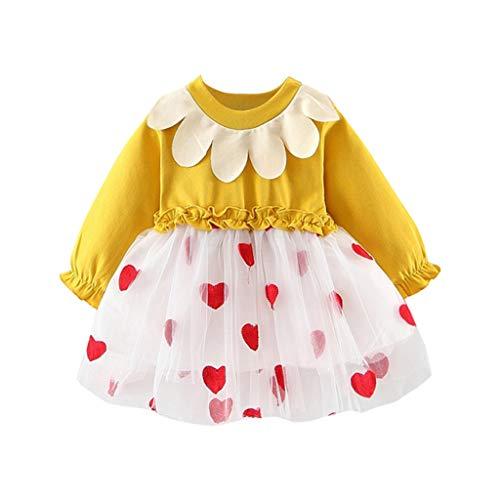 Zylione MäDchen Prinzessin Kleid Kinder Baby LangäRmelige Puppe Kragen GekräUselte Maschen NäHte Liebe Print Kleid Prinzessin Kleid -