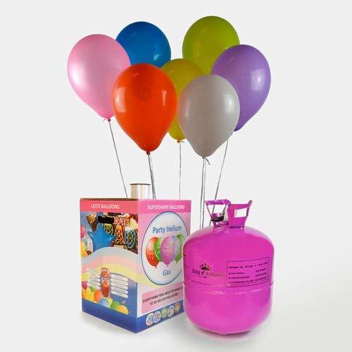 We Are Party Bombona de Helio Maxi 0,42m3 + 50 Globos de Colores Calidad Helio